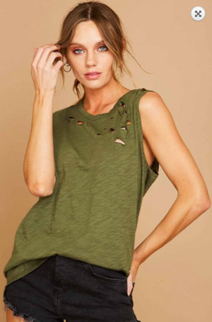 SALE! Sleeveless Distressed Cotton Laser Cut Top