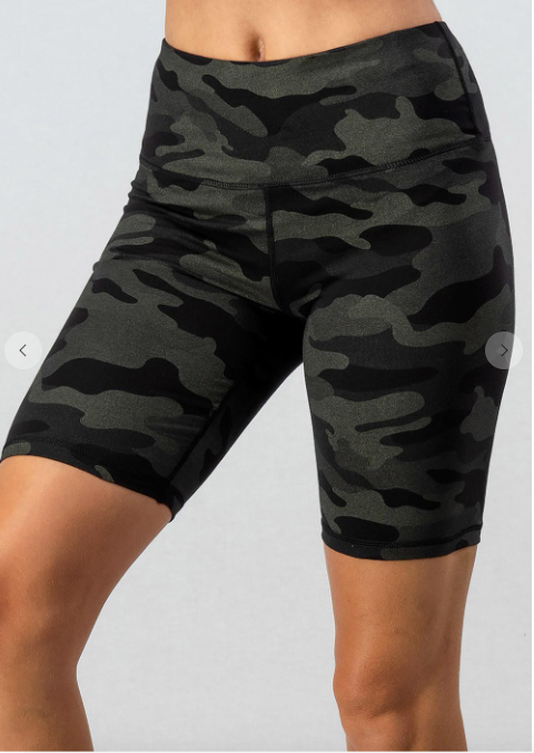 SALE! CAMO METALLIC PRINT BIKE SHORTS - Black