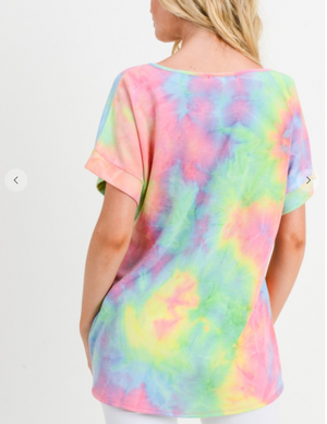 Sale! TIE DYE NEON TOP WITH A V NECKLINE, SHORT SLEEVES AND TWISTED HEM