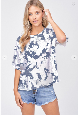 SALE Tie dye side slit short sleeve top