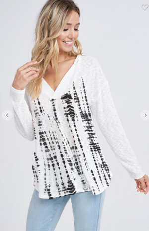 SALE! Tie dye v neck rib hoodie long sleeve top- Black/ Ivory