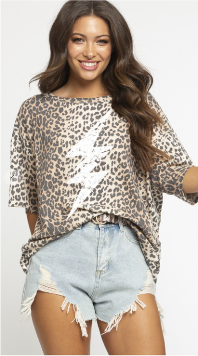 SALE!!!  Leopard printed top with thunder print