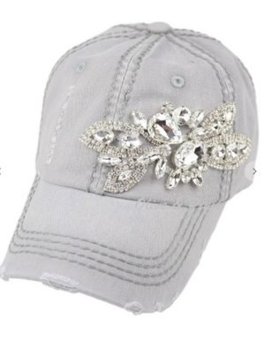 Glitz deco two tone baseball cap- Light Grey