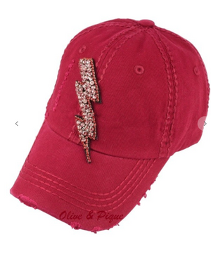 Rose rhinestone lighting bolt deco deconstructed baseball cap- Red