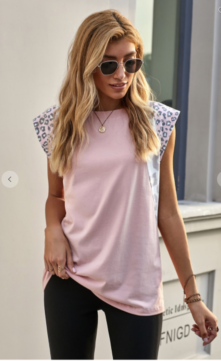 SALE!Leopard Cap Sleeve Casual Top- Pink