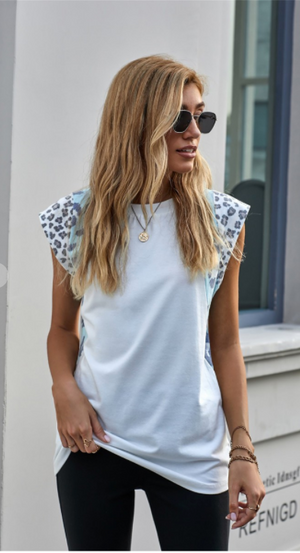 SALE! Leopard Cap Sleeve Casual Top- White/Blue