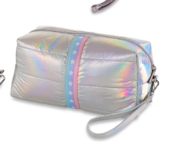 Puffer Cosmetic Bags iridescent with white stars