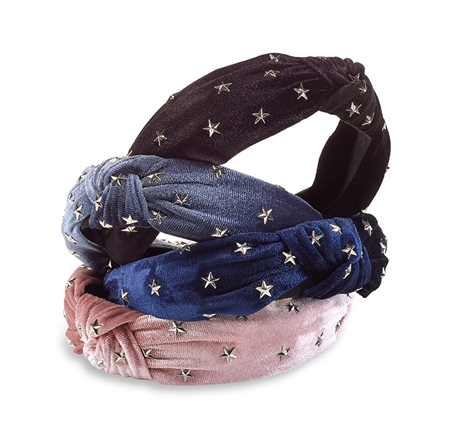 Metal Star Stud Velvet Knot Headband -Burgundy/Black/Denim Blue/ Navy Blue