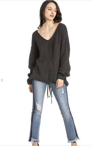 LACE UP- Sweater- Dark Grey