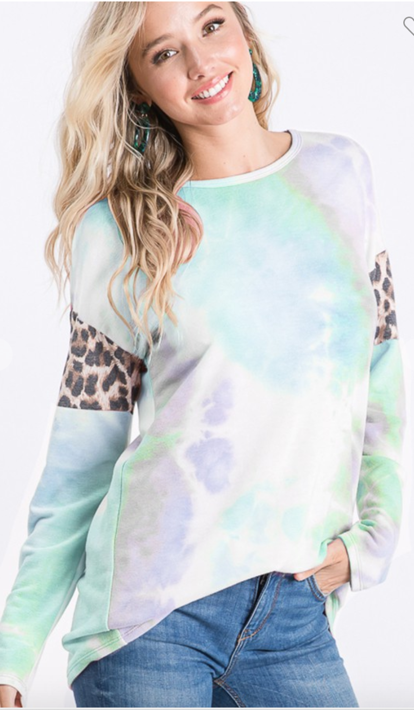 LONG SLEEVE ROUND NECK TIE DYE AND ANIMAL LEOPARD PRINT CONTRAST TOP
