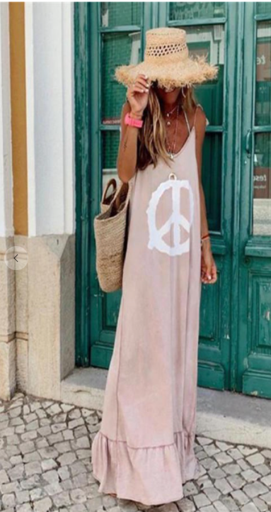 PEACE SLEEVELESS MAXI CASUAL DRESS