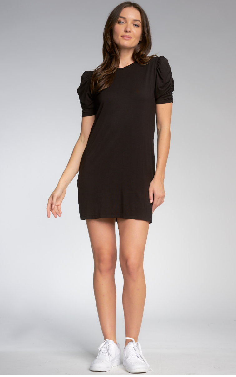 ELAN Rouched Sleeve Dress