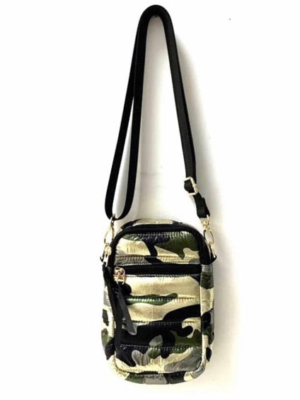 Camo Metallic Puffer Cell Bag