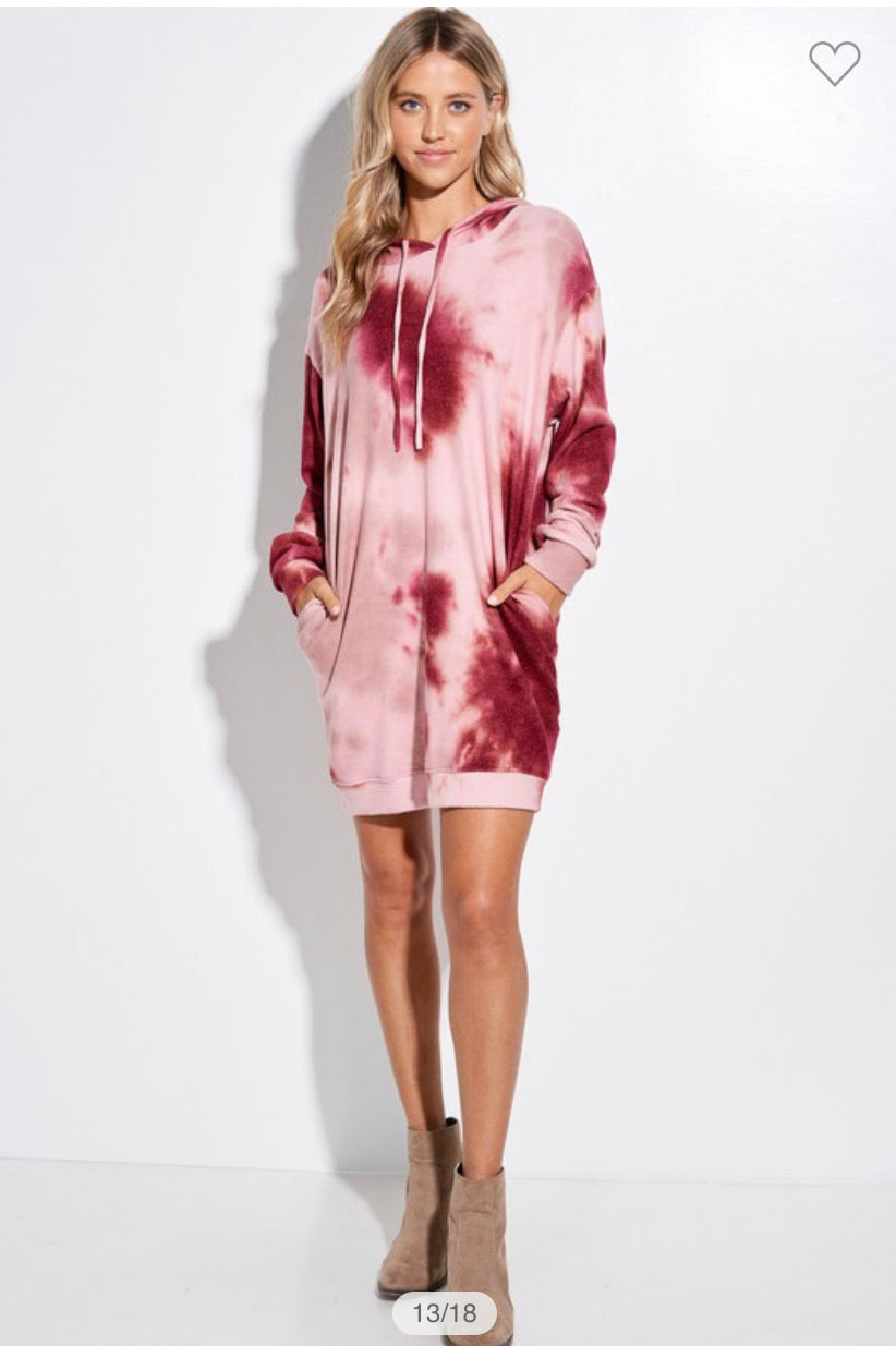 Tie Dye Tunic Dress/Hoodie -Burgundy