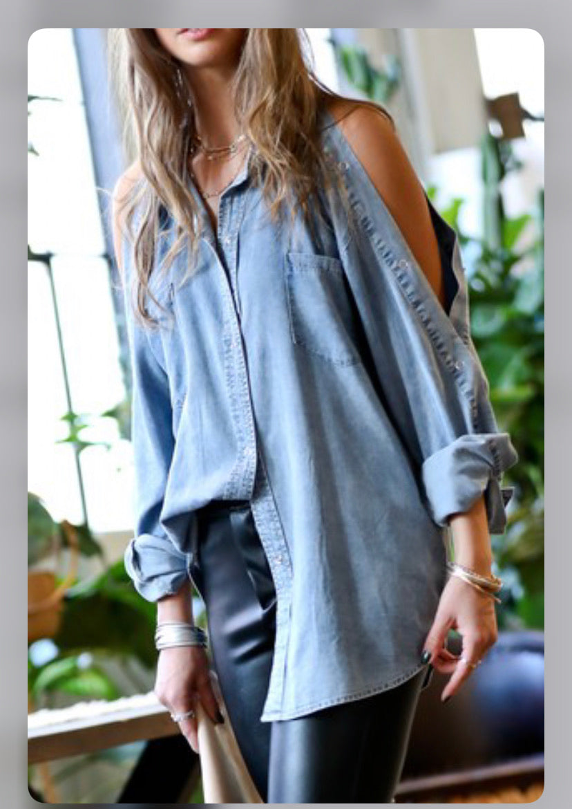 Denim Cut out Long Sleeve Top