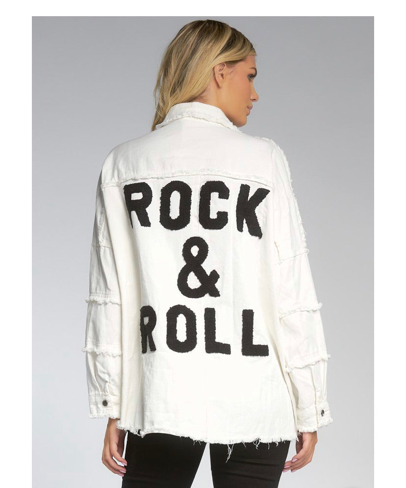 Rock and Roll Distressed White Jacket