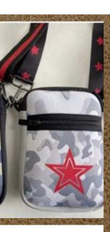 Grey Camo Cell Bag with Red star