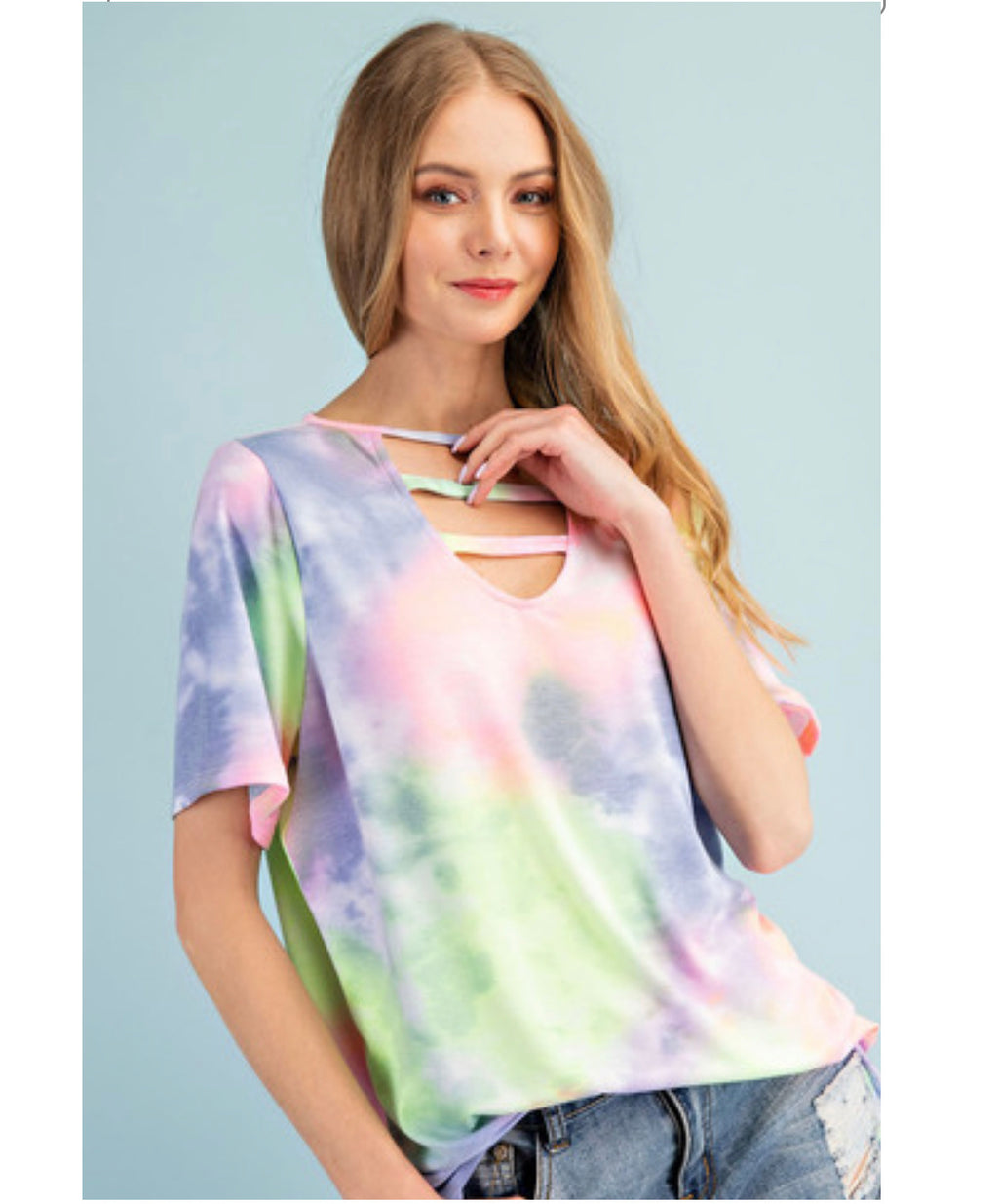 Sale!Tie Dye Short Sleeve  V neck Top