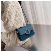Contrast frame flap stripe strap PU leather crossbody bag