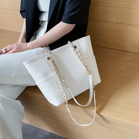 Chain handle side pocket soft PU leather Tote