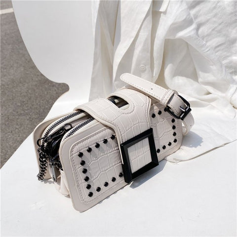 Square flap studded croc-embossed PU leather crossbody bag