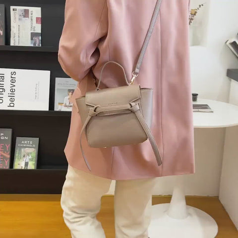 Knotted belt flap design PU leather crossbody bag