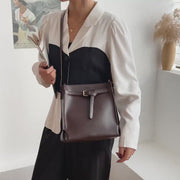Knotted front belt roomy PU leather crossbody bag