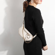Metal ring zip slant topstitching PU leather bum bag