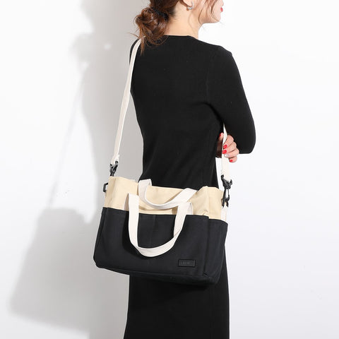 2-way-carry colourblocked roomy canvas tote