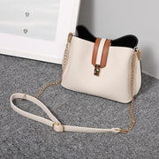 Striped strap PU leather bucket bag