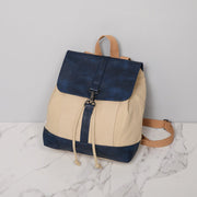 Retro PU leather lobster clasp canvas backpack