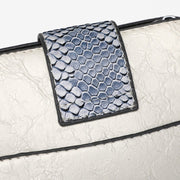Snake-effect strap colourblock PU leather crossbody bag (3 straps)