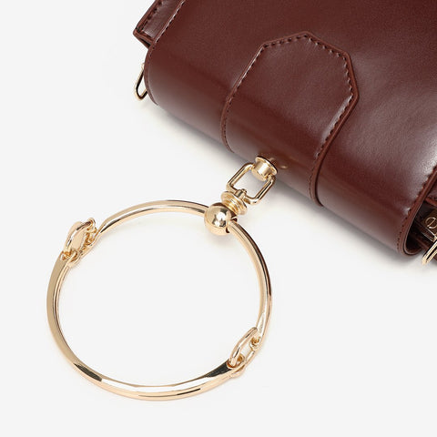 Ring handle dual compartment PU leather crossbody bag