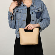 Flat handle PU leather bucket bag