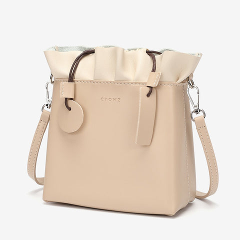 Ruffled top PU leather bucket bag