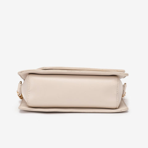 Asymmetric flap PU leather crossbody bag