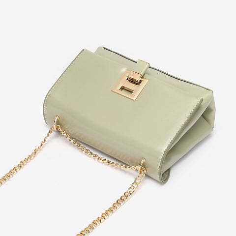 Unique metal clip-lock PU leather crossbody bag