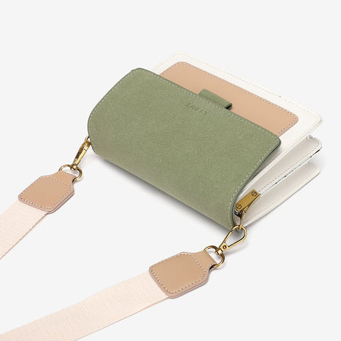 Faux suede flap PU leather crossbody bag (Extra strap)