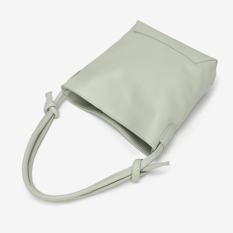 Knotted handle PU leather bucket bag