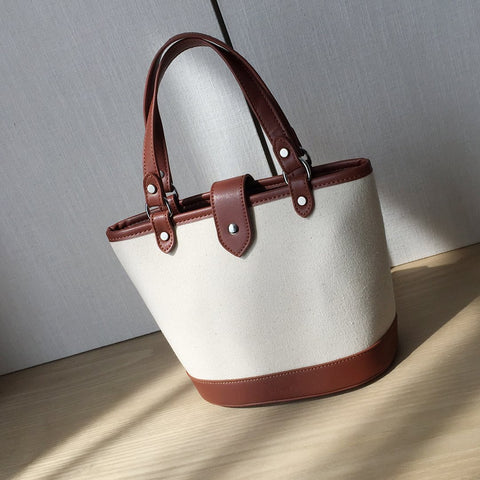 PU leather border canvas bucket bag 2-in-1 set