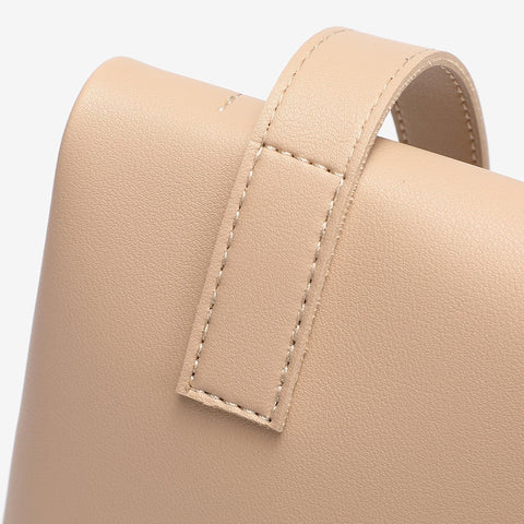 Topstitching soft PU leather crossbody bag