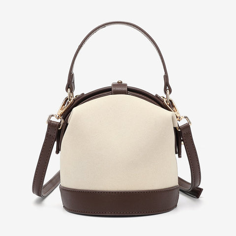 Retro snap-fastening cylindrical PU leather bucket bag