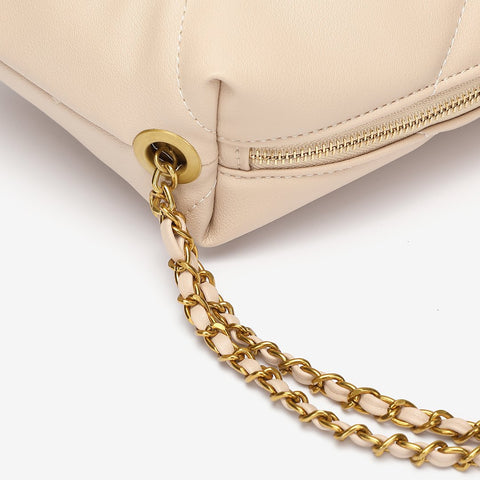 Chain strap quilted PU leather crossbody bag