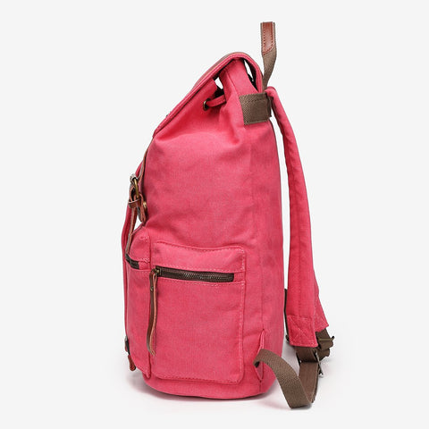 PU leather buckle-strap unisex canvas backpack