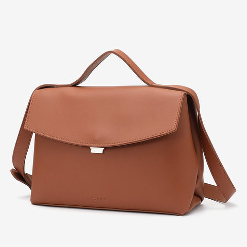 Classic flapover PU leather briefcase crossbody bag