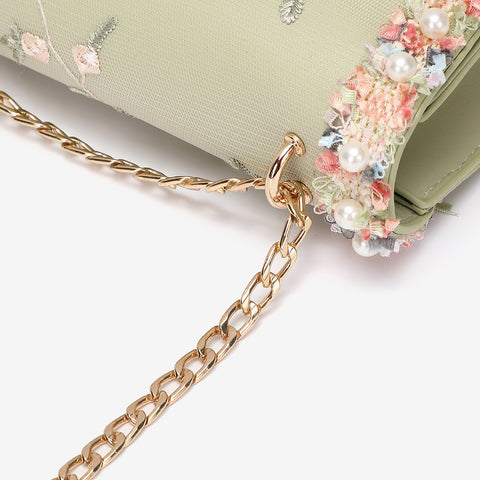 Floral border jacquard PU leather crossbody bag