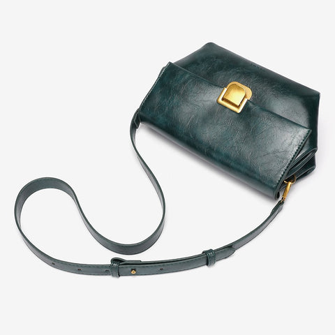 Metal lock hexagon creased PU leather crossbody bag