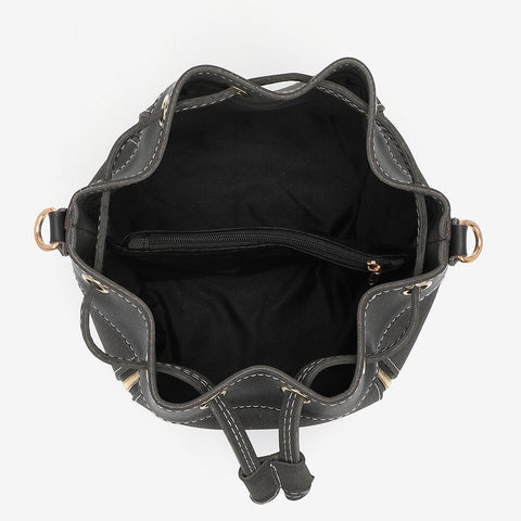 Zip detail drawstring dual compartment PU leather bucket bag
