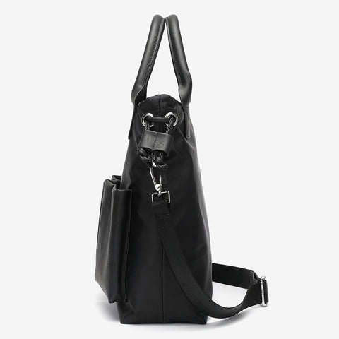 Double front PU leather pocket side drawstring large nylon tote