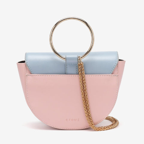 Ring handle colourblock half-moon bag